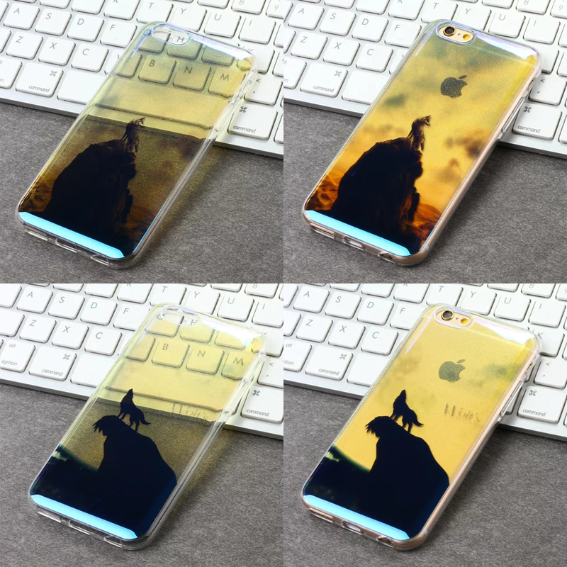 Wolf pattern cell Phone Cases For iPhone 6 6S 4.7'' case <font><b>blu-ray</b></font> glitter PC+TPU Phone Protection Phone shell