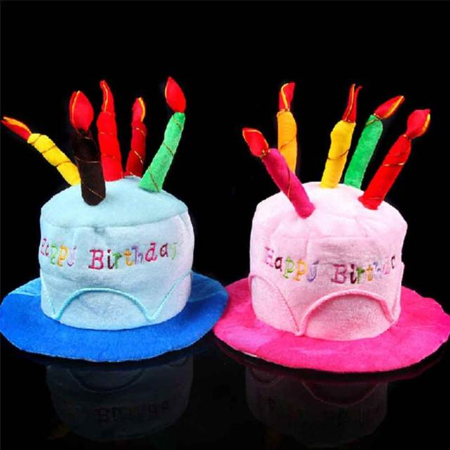 New Creative Plush Soft Happy Birthday Cake Hat With Candles Cap