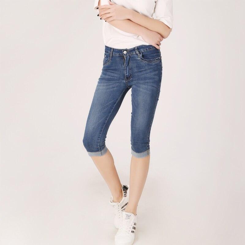 Summer Denim Skinny Women Capri   Pants   High Waist Cropped Trousers Slim Casual Pantalon Female Denim   Capris   Women Plus Size