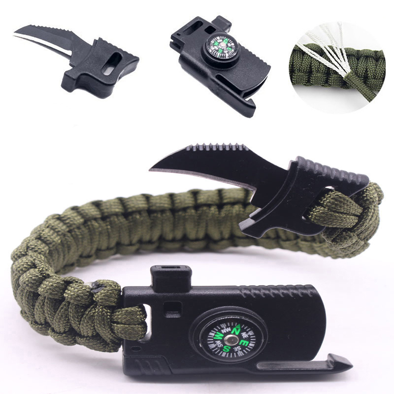 Outdoor Survival Bracelet Men Women Braided Paracord Multifunction Camping Rescue Emergency Rope Bangles Compass Whistle Knife