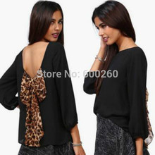New 2016 European and American horny ladies's style leopard chiffon halter unfastened shirt tops shirt plus measurement S-XXL