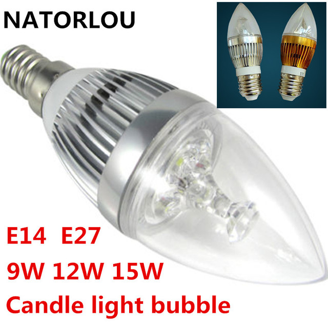 LED Candle Light E14 E27 9W 12W 15W Dimmable 110V 220V LED Bulb Light Cool White/Warm White Spotlight LED LIGHTIG Silver/Gold