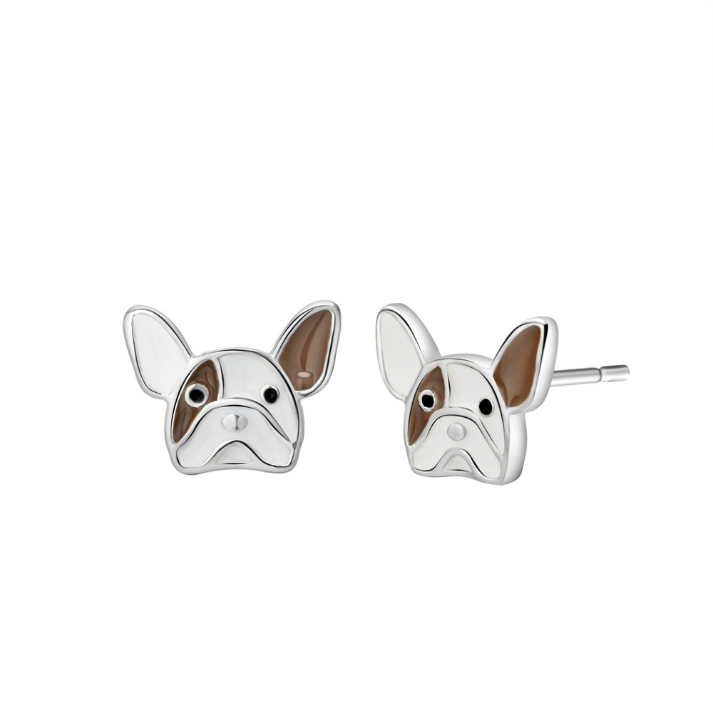 10 Pairs Silver Bulldog Stud Earring Hand Stamped Jewelry For Women 925 Silver 10mm Earring Buy Now