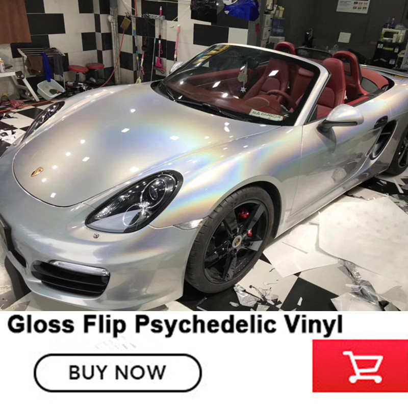 Silver Psychedelic Car Wrap Gloss Flip Vinyl Film with air release For Vehicle WRAPPING COVERING FOIL  Size:1.52*20M hot sale 1 35x15m air release channel car velvet fabric film velvet vinyl car wrap red