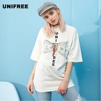UNIFREE T Shirt Women Harajuku Round Collar Cotton 100 Loose Print Ton Top Tee UH182G015