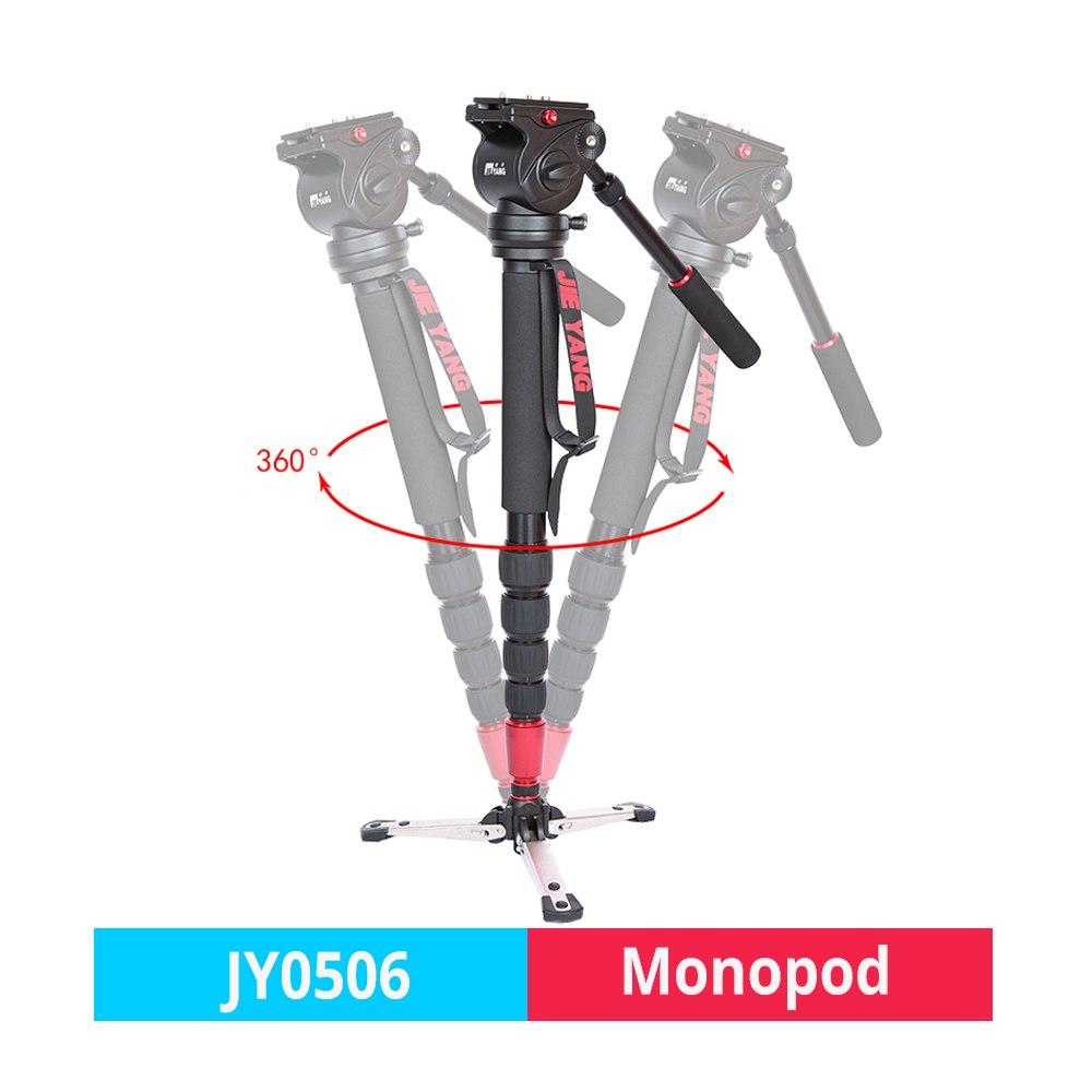 JIEYANG JY-0506/JY0506 aluminium professionnel caméra monopode vidéo trépied pour appareil photo reflex numérique Sony Nikon Canon avec trépieds sac de tête