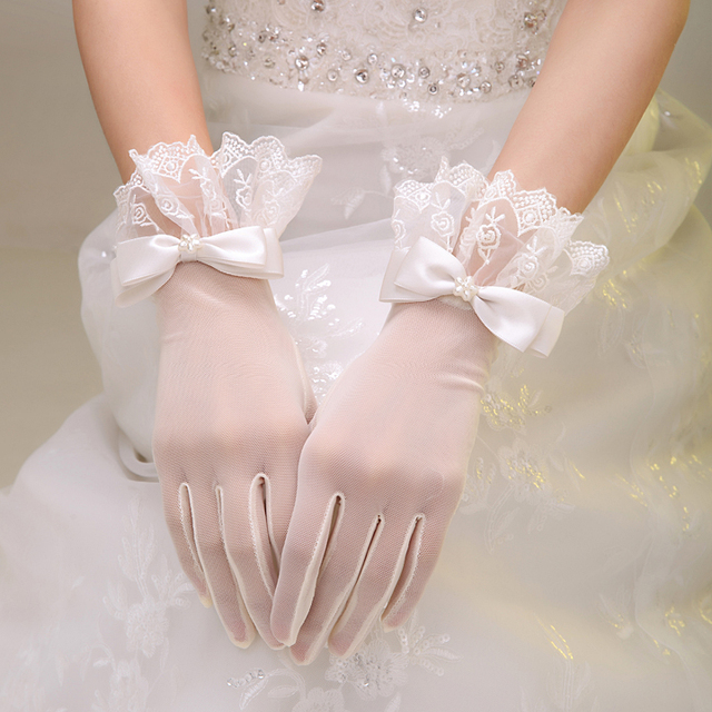 Free Size Short Lace Gloves Bridal Wedding For Bride Evening Formal With