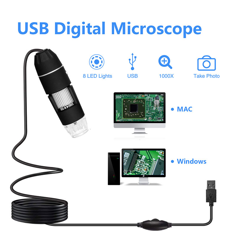 Mega Pixels 500X/<font><b>1000X</b></font> 8 LED Electronic <font><b>USB</b></font> <font><b>Microscope</b></font> Camera Digital <font><b>Microscope</b></font> Professional Magnifier Endoscope Microscopio image