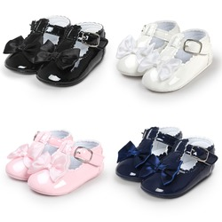 Nouveau-né bébé filles chaussures boucle en cuir synthétique polyuréthane premiers marcheurs bébé mocassins chaussures Bow t-bar semelle souple chaussures antidérapantes chaussures de berceau