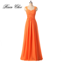 Формальные Подружкам невесты Оранжевый Черный шифон Свадебная вечеринка платья Длинные платье подружки невесты