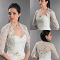 New Arrival 3/4 Sleeve Sheer Lace Applique Bolero Jackets White/Ivory Bridal Wedding Shawls 2016