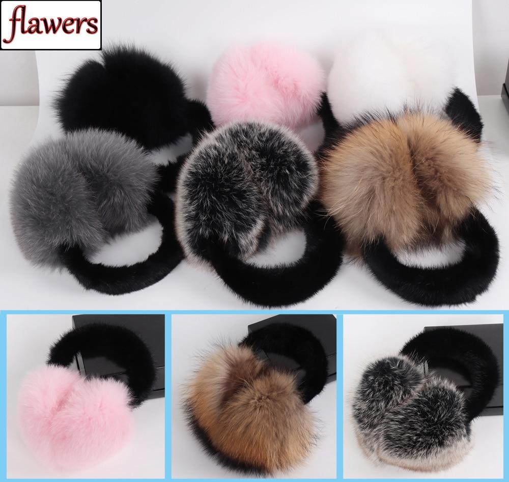 Fluffy 100% Genuine Real Fox Fur Earmuff Winter Warm Women Natural Fox Fur Ear Muffs New Ladies Luxurious Real Mink Fur Earlaps
