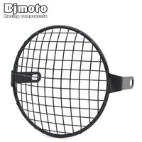 BJMOTO 6 5 Inch Metal Motorcycle Front Headlight Lamp Mesh Grille Cover Mask Square Grid For