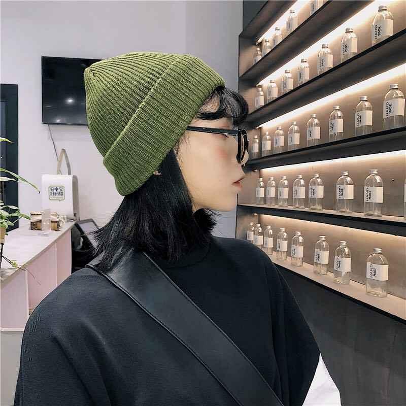 الشتاء قبعة للرجال Skullies و Beanies النساء الرجال قبعة دافئة للجنسين مرونة قبعة متماسكة القبعات 2019 موضة الأخضر قبعة