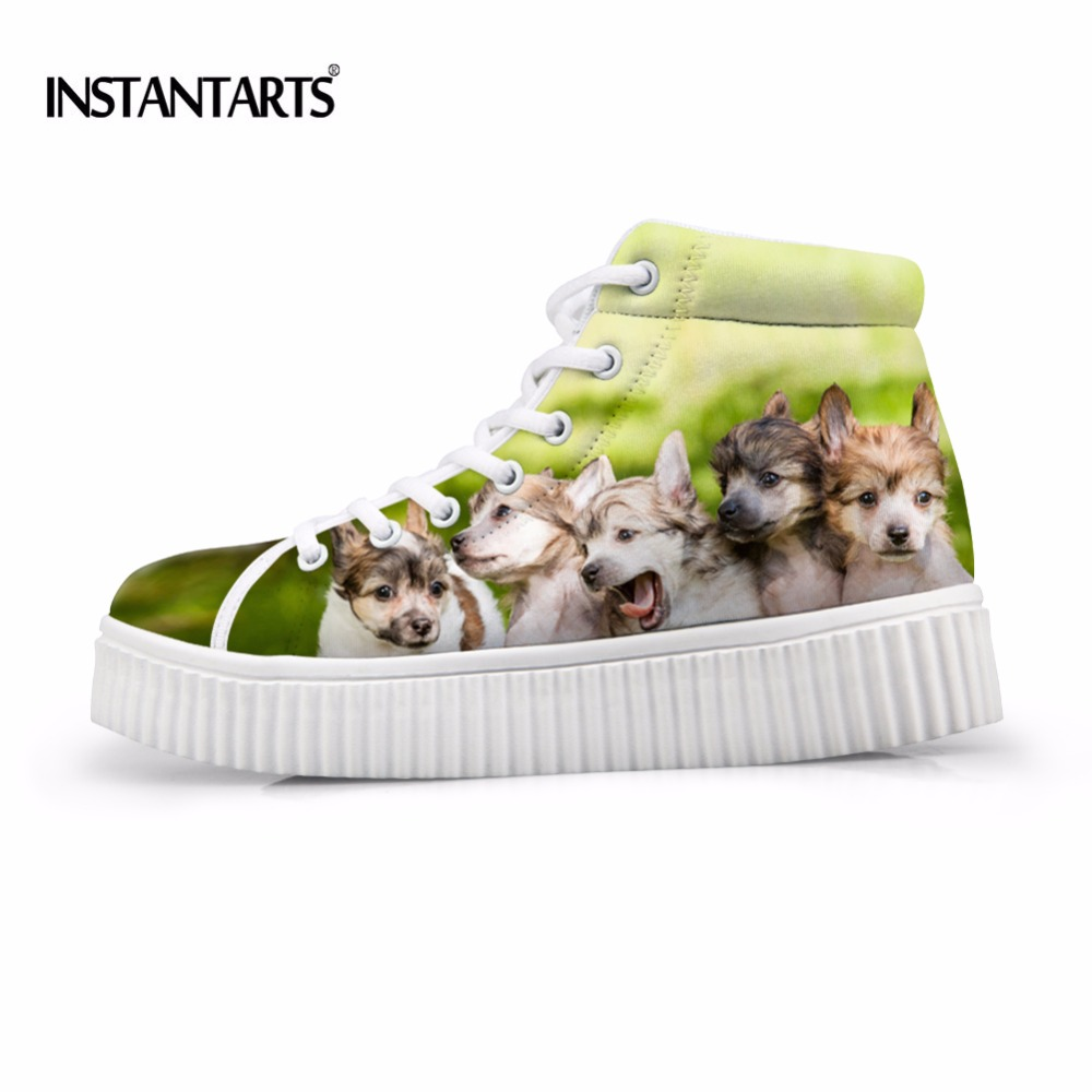 Instantarts Novelty Lace Up Women Flat Shoes Animal Dog Printed High Top Platform Shoes Female Breathable Leisure Flats Mujer To Be Highly Praised And Appreciated By The Consuming Public Women's Flats