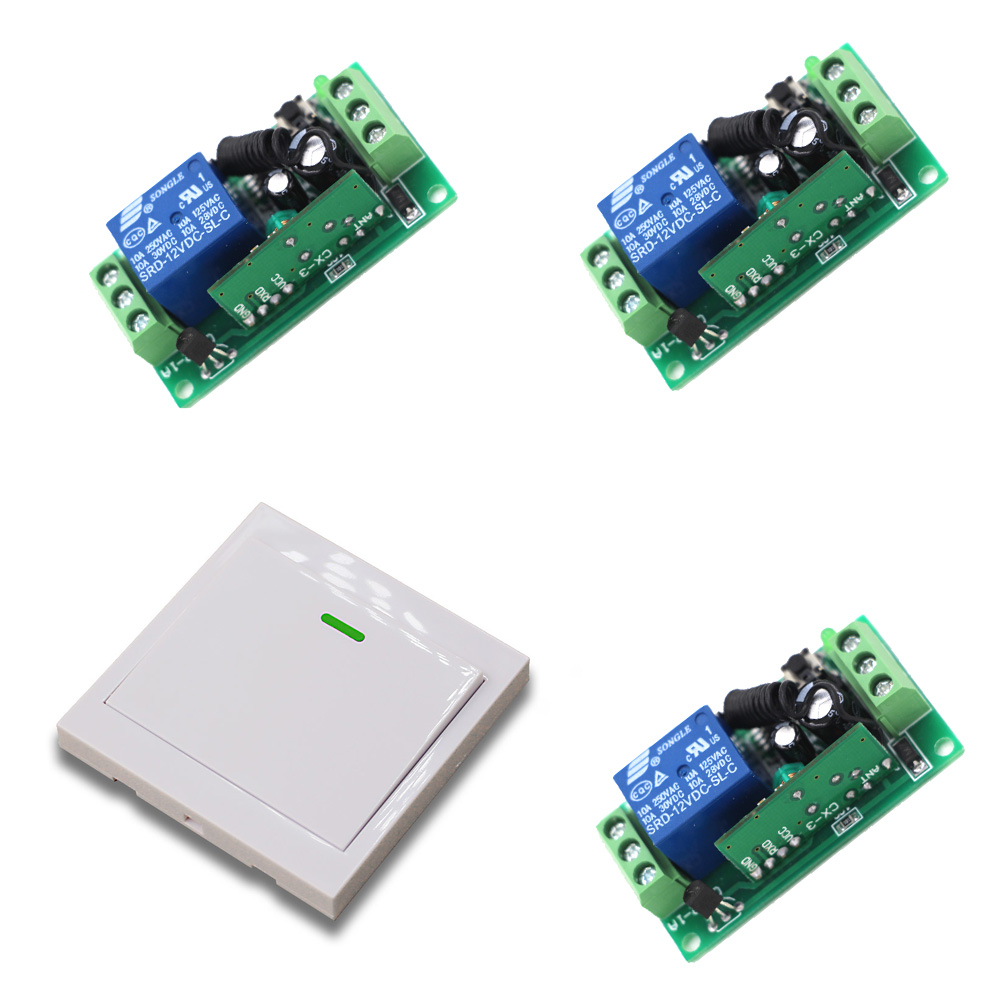 9V/12V/24V RF Wireless Remote Control Switch System Light Switch 10A 1Ch Relay Module Wall Transmitter315/433Mhz ac220v rf wireless remote control light lamp switch system 1receiver