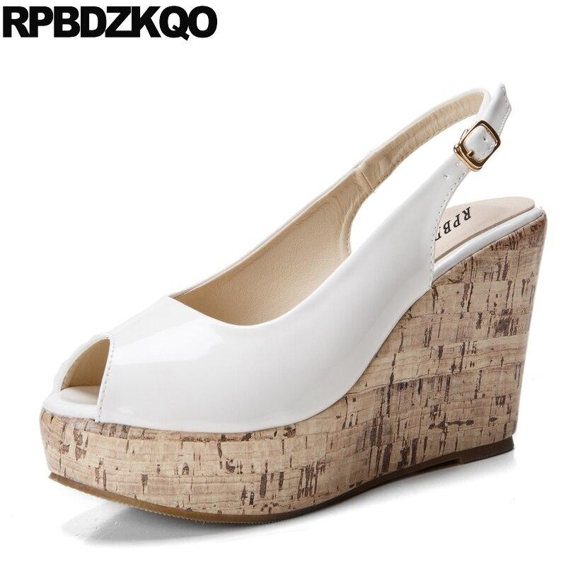 17b700c7247759 High Heels Sandalen Nude Plattform Schuhe Größe 4 34 33 Weiß Günstige Damen  Plus Fisch Mund Keil Slingback 10 42 peep Toe Pumpen in High Heels Sandalen  Nude ...