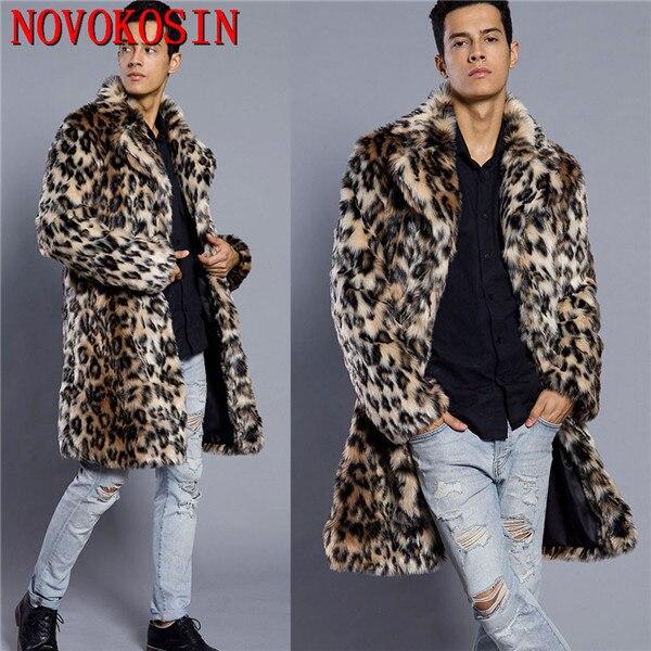 3XL 2018 New Fashion Men Faux Fur Suit Neck Cardigan Thick Long Fur   Trench   Winter Warm Plus Size Open Stitch Leopard Plush Coat