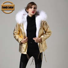 FL Brand 2016 New Causal Women Winter Military Jacket Coats Thick Parkas Real Raccoon Fur Collar Hooded Cotton Outwear Korean