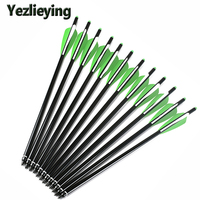 High Quality 6 12 24PCS16 17 18 20 22 Inches Aluminum Arrow Bolt Green White Feathers