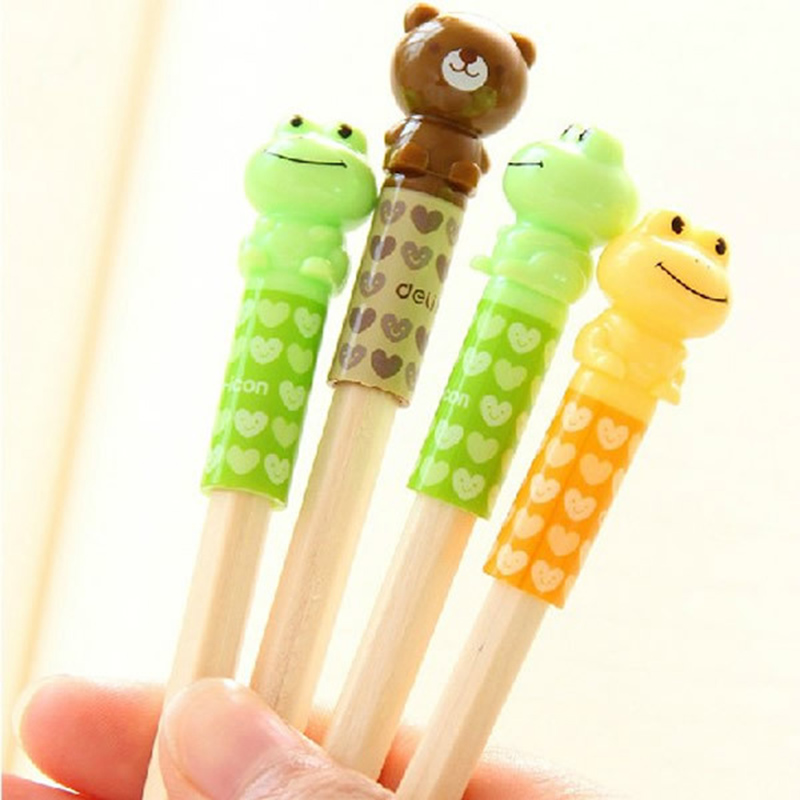4 Pcs/lot Creative Cartoon Frog Bear Pencil Cap School Supplies Stationery For Diameter 0.7cm-0.78cm Pencil Protection Cap