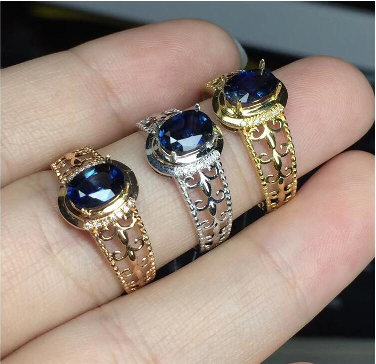 REAL 18K Gold Ring 100% Natural Sapphire Ring Real blue sapphire Fine jewelry Blue gem 5*7mm gem elephant faux gem beaded ring
