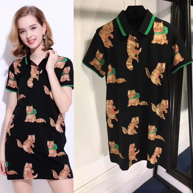 Женское летнее платье повседневное короткое платье рубашка элегантный тонкий vestido модный халат femme ete 2018 печать черное платье ropa mujer