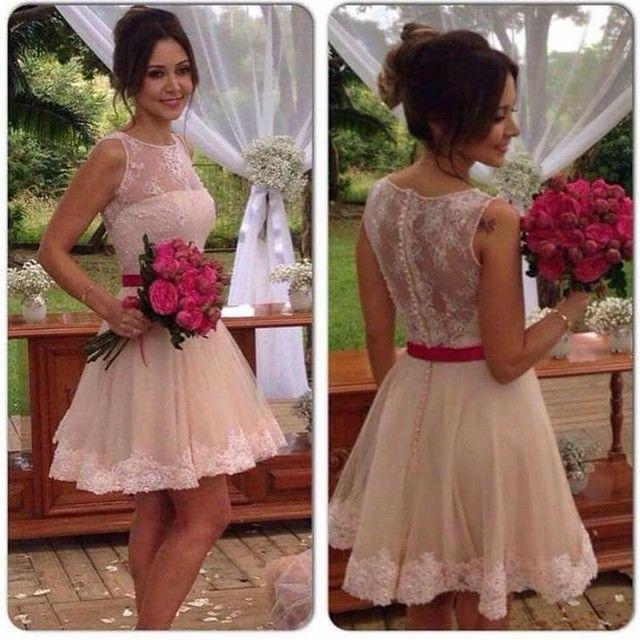 vestido de festa lovely pink short cocktail dresses 2017  lace appliques  girl homecoming coctail party dress robe de soiree
