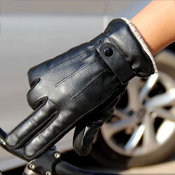 New Arrival New Men's Luxurious PU Leather Winter Super Driving Warm Gloves Cashmere Cashmere Wonderful Gift