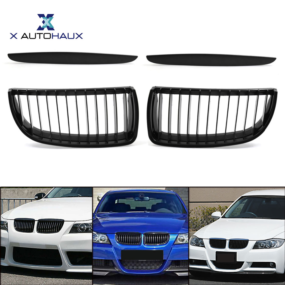 X Autohaux Matte Black Front Hood Kidney Car Racing Grille Grill For BMW E90 E91 323i 325xi 330i 328i 328xi 335i 2005 TO 2008 2pcs angel eyes car auto white led light for bmw e90 e91 3 series 325i 328i 325xi 328xi 330i 06 08 excellent quality angel eyes