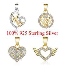 100% Sterling Silver Love You Heart Zircon Love MOM Small Charm Pendant for Women's Necklaces Jewelry Making Charms Gift(China)