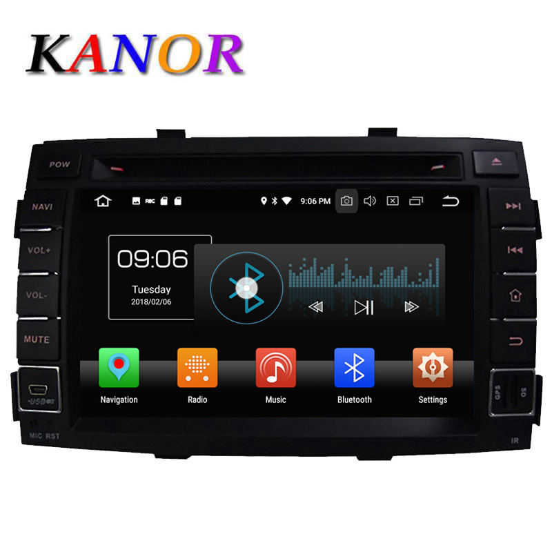 KANOR Octa Core Android 8.0 RAM 4g 2din Car DVD Player GPS For KIA Sorento 2009 2010 2011 Radio WIFI Bluetooth Map USB Audio цена