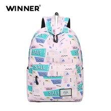Высокое качество женщины рюкзак школьные для девочек-подростков сумка с буквенным принтом повседневный рюкзак женщины Mochila розовый