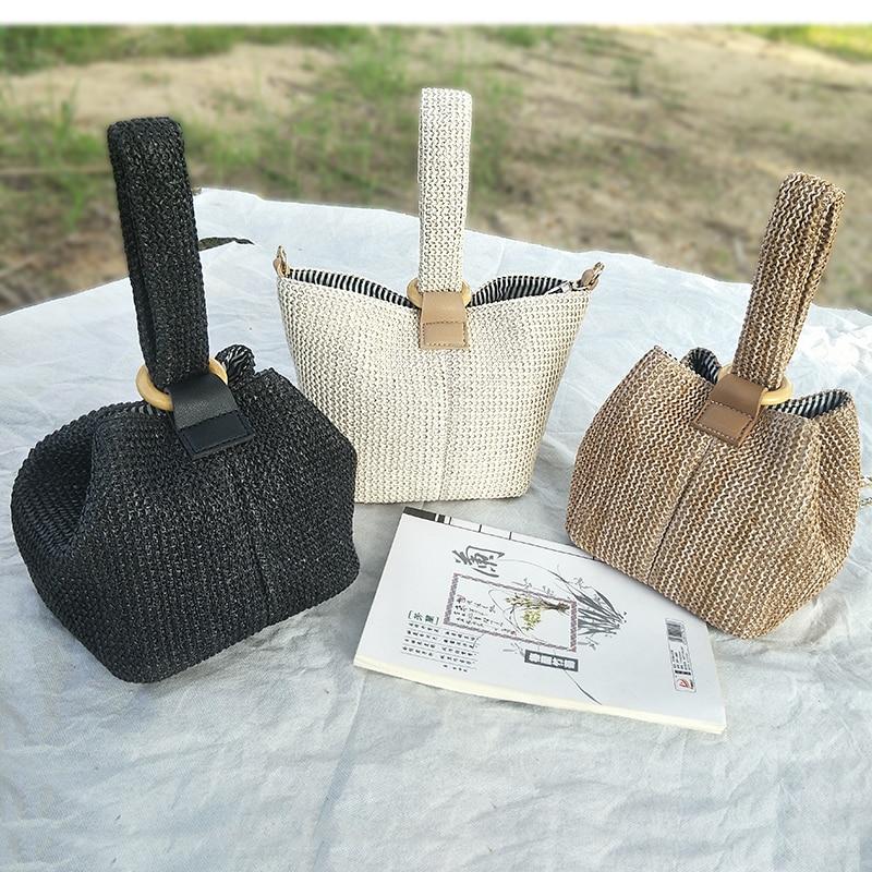 f28c6be43 Las mujeres bolso de la bolsa de playa de mimbre tejido hecho a mano de  punto
