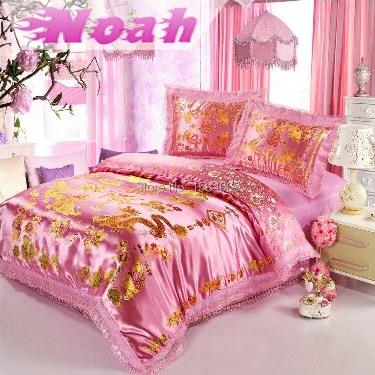 cotton silk oriental bedding set king sizepink gold dragon comforter set duvet cover bedding set 4 pcs kd 6in bedding sets from home