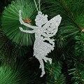 Árbol de Navidad decoración suministros tamaño 14x9 cm cinco colores Ángel forma de Navidad ornamento polvo de brillo árbol de Navidad colgante 10g