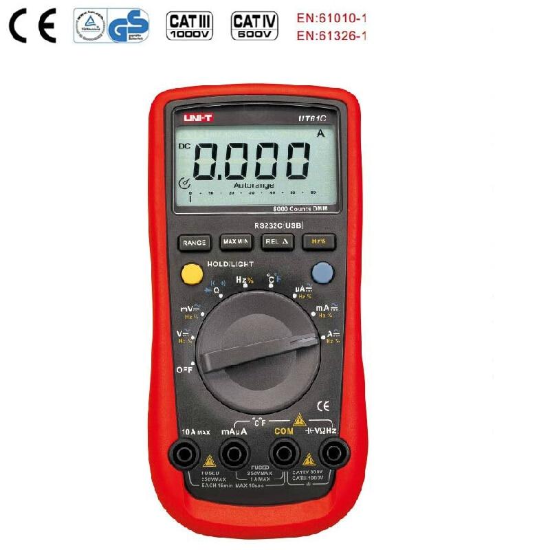UNI-T UT61C Modern Digital Multimeters AC DC Meter CD Backlight & Data Hold Multitester uni t ut60b modern auto ranging data hold dmm digital multimeters w capacitance