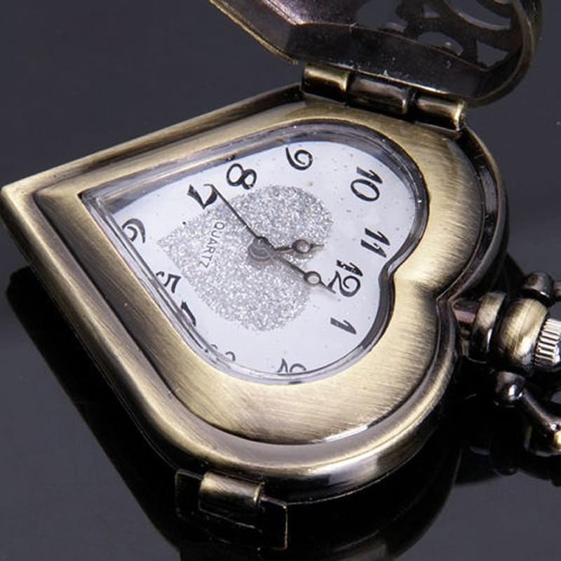 Antieke bronzen holle hart vorm zakhorloge vrouwen horloges mannen - Zakhorloge - Foto 5