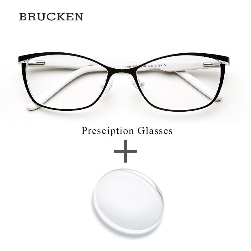 Donne in metallo Occhiali Da Vista Occhio di Gatto Del Computer Miopia Oculos de grau feminino armacao Optical Occhiali Da Vista per la Femmina # TWM7553C1