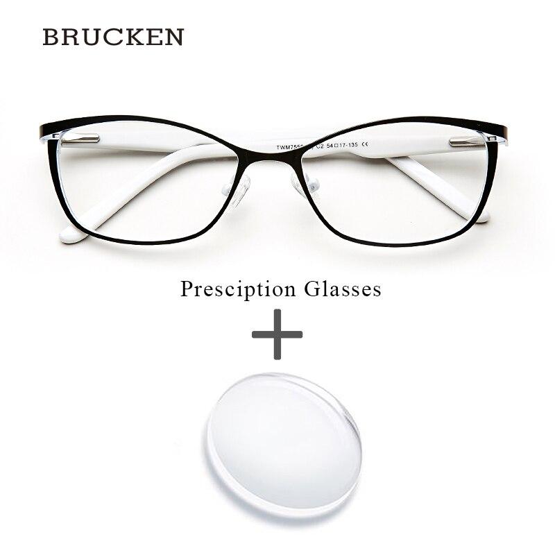 Métal Femmes Prescription Lunettes Cat Eye Ordinateur Myopie Oculos de grau feminino armacao Optique Lunettes pour Femme # TWM7553C1