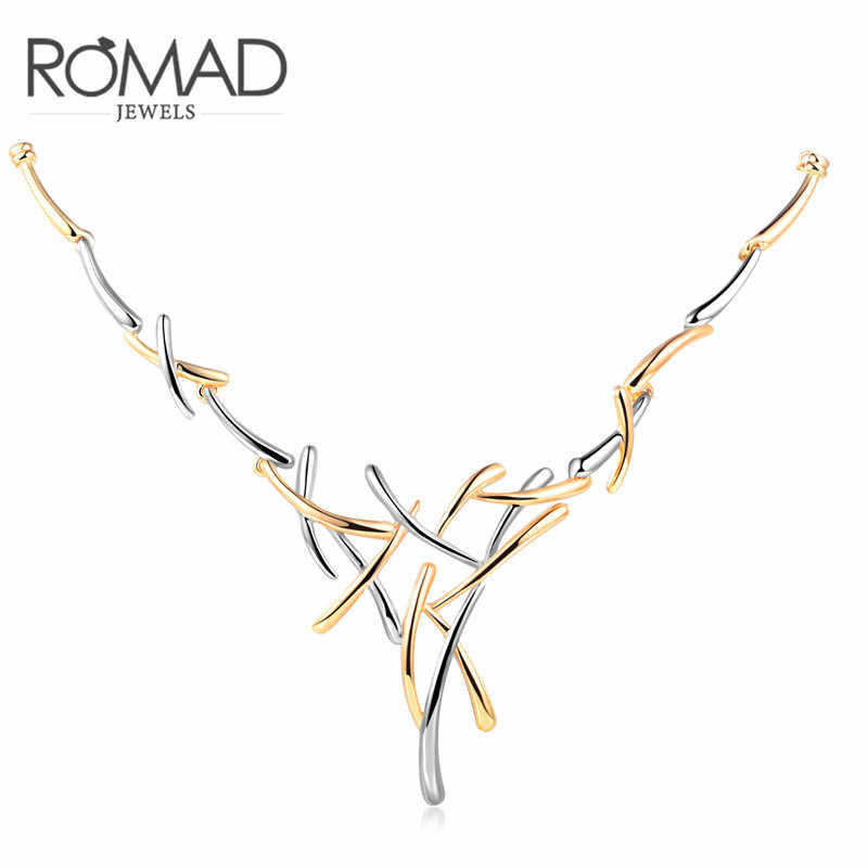 Romad Two Tone Gold Geometric Cross Gold Mix Color Metallic Necklace Statement Punk Jewelry for Women Female Party Jewelery