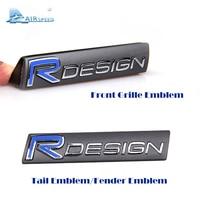 RDESIGN Logo 3D Metal Sticker Car Front Grille Emblem Tail Sticker Fender Emblem Car Styling For