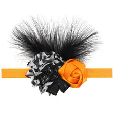 Novo 2016 Crianças Meninas Floral Pena Headbands Do Bebê do Dia Das Bruxas Meninas Princesa Bowknot headwear Crianças acessórios para o cabelo Elástico