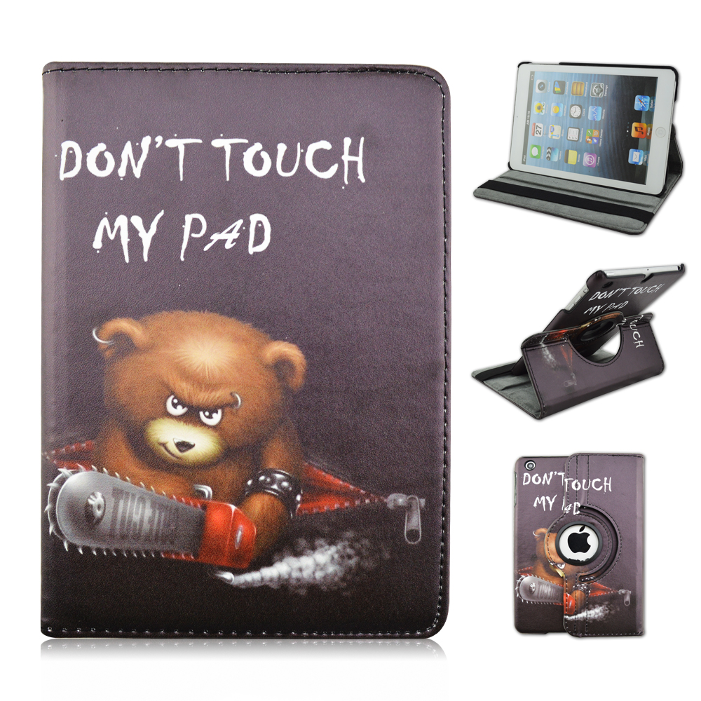 QUWIND PU En Cuir PC Matériel 360 Degrés Tournant Cas De Couverture de L'ours ne Touchez Pas Mon Pad Motif pour iPad Air 1 iPad 2017 2018