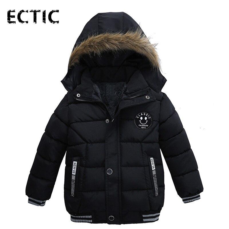 Ectic 2017 Зимняя куртка для мальчиков для Обувь для мальчиков толстые с капюшоном одежда на хлопчатобумажной подкладке пальто для маленьких ма...