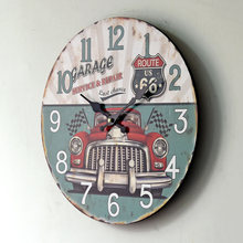 hot deal buy 2016 new large decorative wall clocks hot home decoration continental retro vintage car wood frame wall clocks