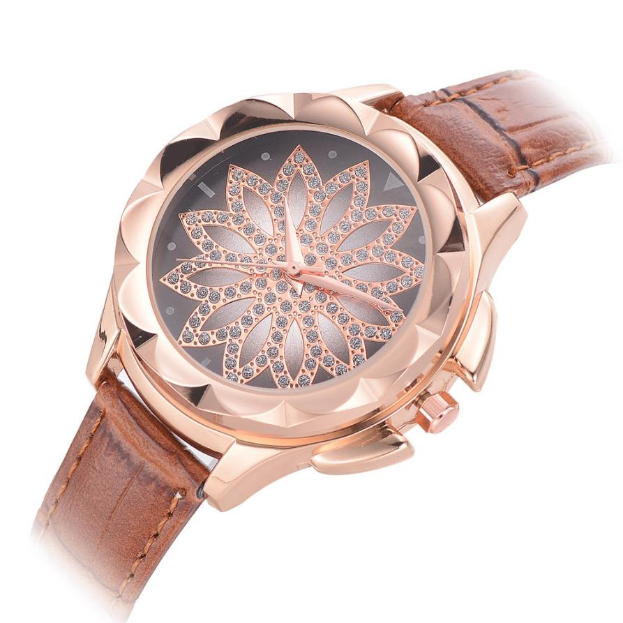 New Exquisite Women's Casual Leather Band Rhinestone Flowers Dial Design Watch Analog Quartz Wrist Watch Ladies Watch xfcs saat цена