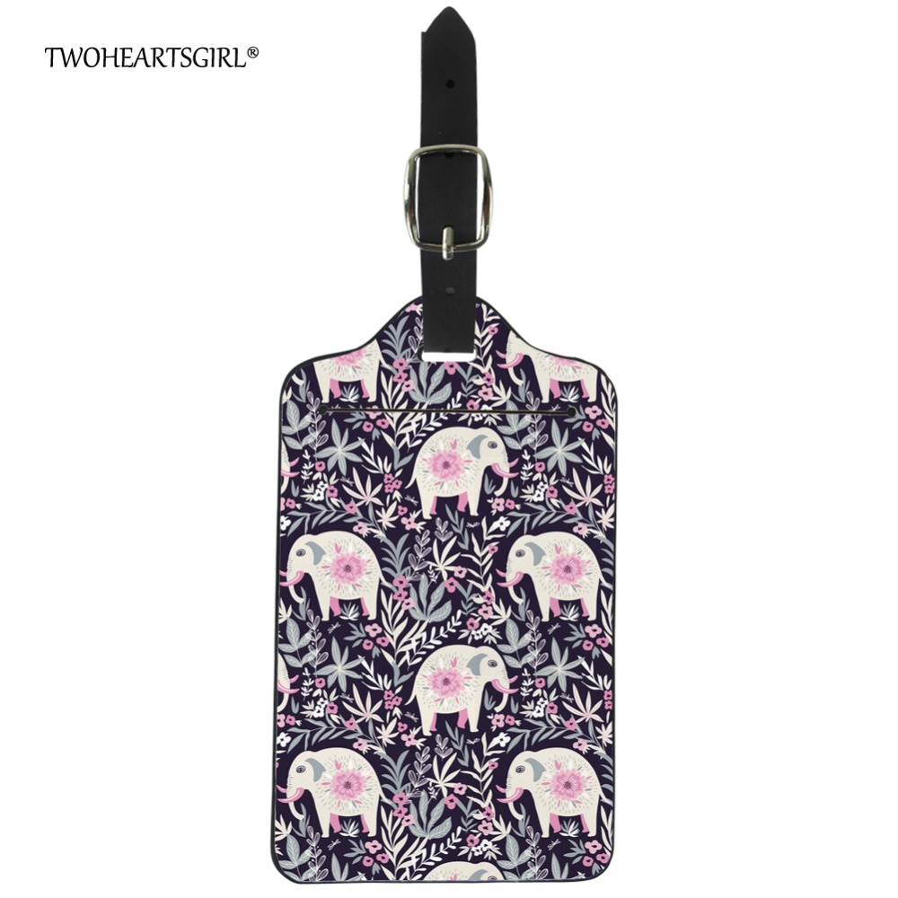 Twoheartsgirl Pretty Floral Elephant Boarding Tag Label Fashion Women Travel Luggage Tag Cute Leather Suitcase Name Holders