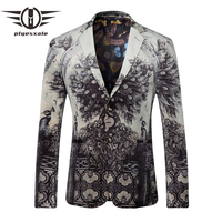 Plyesxale Blazer Men 2018 Peacock Printed Men Blazers Casual Suit Jacket Slim Fit Homens Blazer Mens Stage Wear Brand Coat Q205