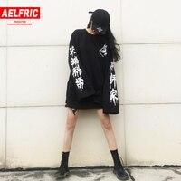 Aelfric Харадзюку панк готика футболка женская уличная повседневная одежда в Корейском стиле женские футболки для пар с длинными рукавами с бу...